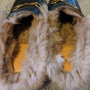 Shoes - Leather fur mules
